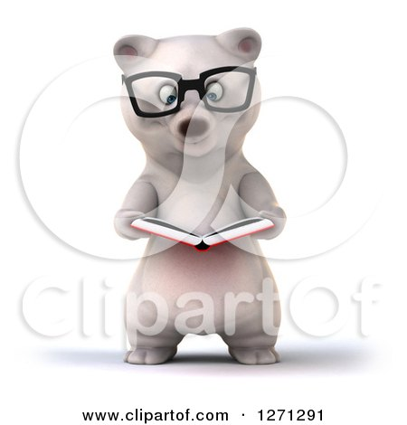 Clipart of a 3d Bespectacled Polar Bear Reading a Book - Royalty Free Illustration by Julos