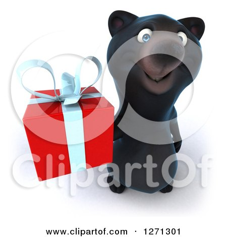 Clipart of a 3d Black Bear Holding up a Gift - Royalty Free Illustration by Julos
