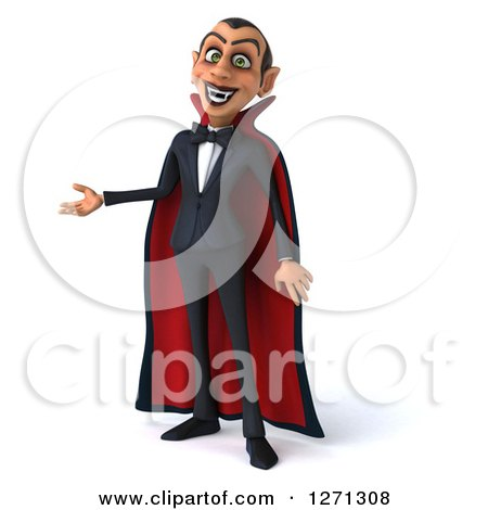 Clipart of a 3d Dracula Vampire Presenting to the Left - Royalty Free Illustration by Julos