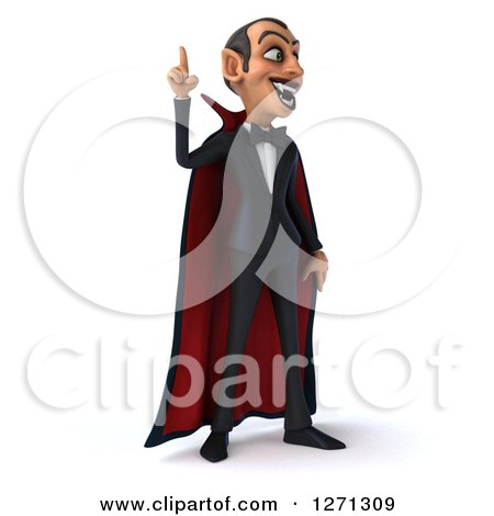 Clipart of a 3d Dracula Vampire Facing Slightly Right and Pointing Upwards - Royalty Free Illustration by Julos