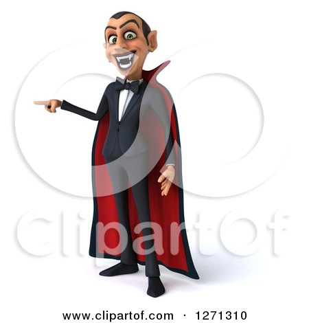 Clipart of a 3d Dracula Vampire Pointing to the Left - Royalty Free Illustration by Julos