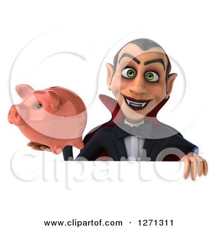 Clipart of a 3d Dracula Vampire Holding a Piggy Bank over a Sign - Royalty Free Illustration by Julos