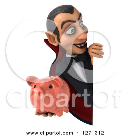 Clipart of a 3d Dracula Vampire Holding a Piggy Bank Around a Sign - Royalty Free Illustration by Julos
