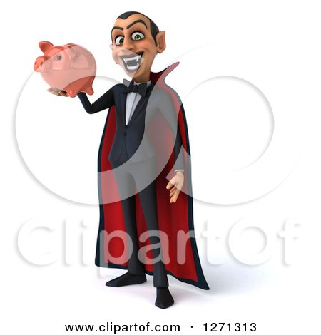 Clipart of a 3d Dracula Vampire Facing Slightly Left and Holding a Piggy Bank - Royalty Free Illustration by Julos