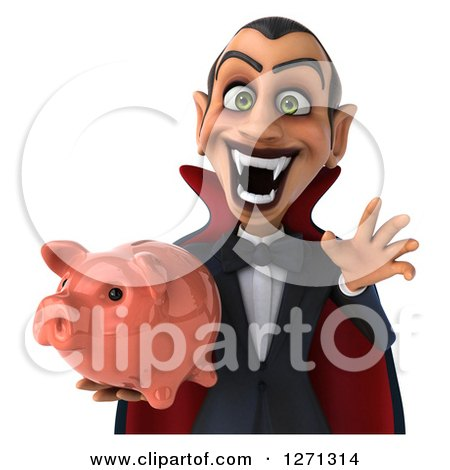 Clipart of a 3d Scary Dracula Vampire Holding a Piggy Bank over a Sign - Royalty Free Illustration by Julos