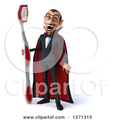 Clipart of a 3d Full Length Dracula Vampire Grinning and Holding a Giant Toothbrush - Royalty Free Illustration by Julos