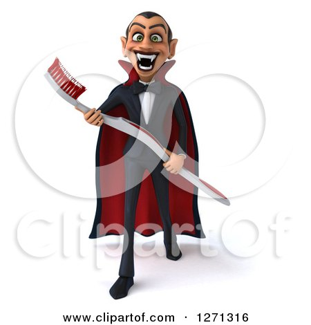 Clipart of a 3d Full Length Dracula Vampire Stepping Forward and Holding a Giant Toothbrush - Royalty Free Illustration by Julos