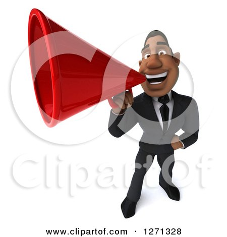 Clipart of a 3d Handsome Black Businessman Announcing with a Megaphone - Royalty Free Illustration by Julos