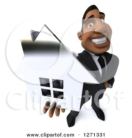 Clipart of a 3d Handsome Black Businessman Holding up a Silver House - Royalty Free Illustration by Julos