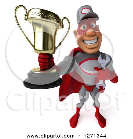 Clipart of a 3d Proud Male Super Hero Mechanic Holding up a Trophy - Royalty Free Illustration by Julos