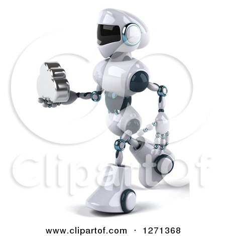 Clipart of a 3d White and Blue Robot Walking to the Left and Holding out a Silver Cloud - Royalty Free Illustration by Julos