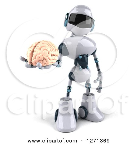 Clipart of a 3d White and Blue Robot Holding out a Brain - Royalty Free Illustration by Julos