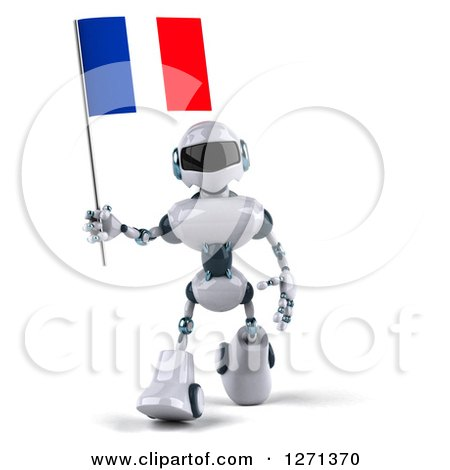 Clipart of a 3d White and Blue Robot Walking Forward with a French Flag - Royalty Free Illustration by Julos