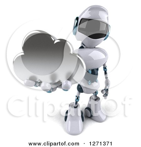 Clipart of a 3d White and Blue Robot Holding up a Silver Cloud - Royalty Free Illustration by Julos