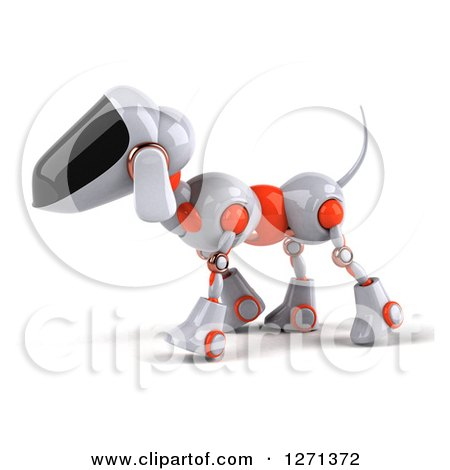 Clipart of a 3d Robotic Dog Walking to the Left - Royalty Free Illustration by Julos