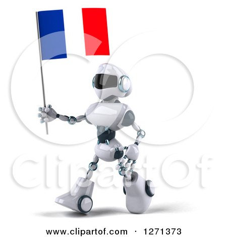 Clipart of a 3d White and Blue Robot Walking Left with a French Flag - Royalty Free Illustration by Julos