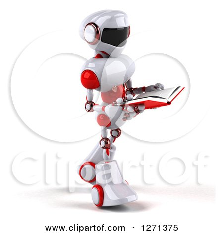 Clipart of a 3d White and Red Robot Walking to the Right and Reading a Book - Royalty Free Illustration by Julos
