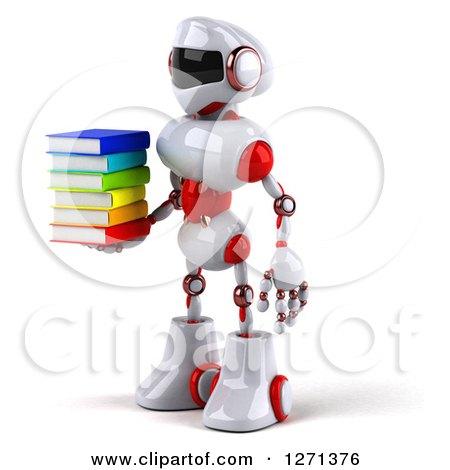 Clipart of a 3d White and Red Robot Facing Left and Holding a Stack of Books - Royalty Free Illustration by Julos
