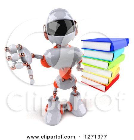 Clipart of a 3d White and Orange Robot Holding up a Stack of Books and Thumb down - Royalty Free Illustration by Julos