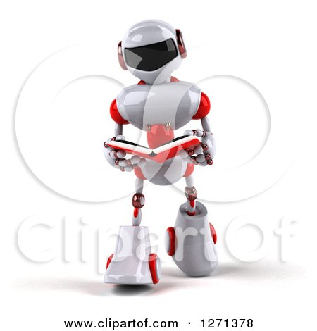 Clipart of a 3d White and Red Robot Walking and Reading a Book - Royalty Free Illustration by Julos