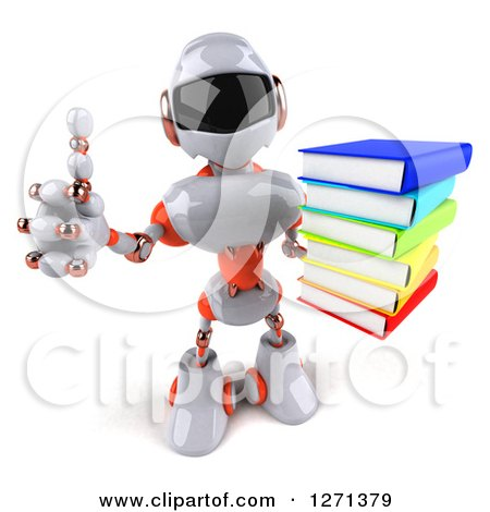 Clipart of a 3d White and Orange Robot Holding up a Stack of Books and Thumb - Royalty Free Illustration by Julos