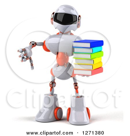 Clipart of a 3d White and Orange Robot Holding a Stack of Books and Thumb down - Royalty Free Illustration by Julos
