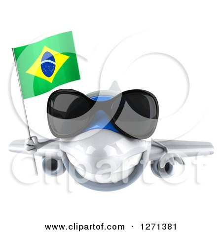 Clipart of a 3d Happy White Airplane Wearing Sunglasses and Flying with a Brazilian Flag - Royalty Free Illustration by Julos