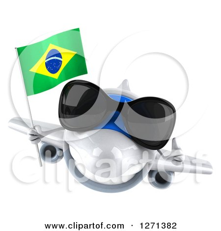 Clipart of a 3d Happy White Airplane Wearing Sunglasses, Holding a Thumb up and Flying with a Brazilian Flag - Royalty Free Illustration by Julos