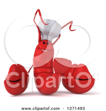 Clipart of a 3d Red Chef Lobster Smiling - Royalty Free Illustration by Julos