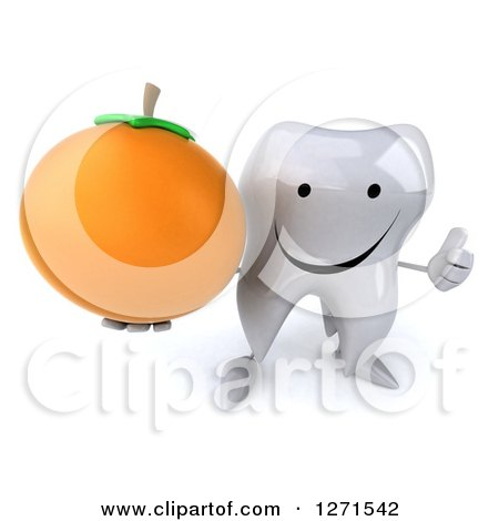 Clipart of a 3d Happy Tooth Character Holding an Orange and Thumb up - Royalty Free Illustration by Julos