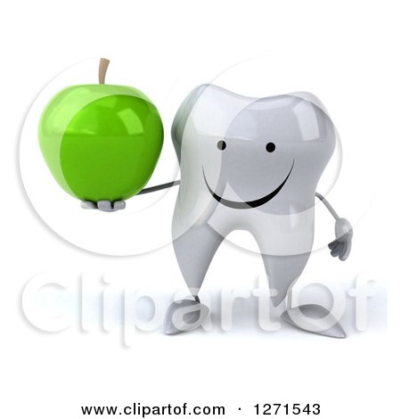 Clipart of a 3d Happy Tooth Character Holding a Green Apple - Royalty Free Illustration by Julos