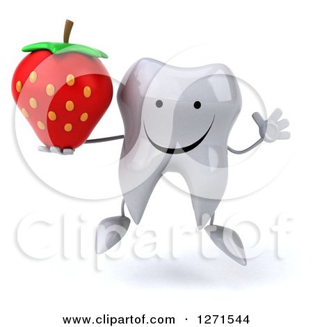 Clipart of a 3d Happy Tooth Character Jumping and Holding a Strawberry - Royalty Free Illustration by Julos