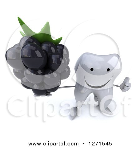 Clipart of a 3d Happy Tooth Character Holding up a Blackberry and Thumb up - Royalty Free Illustration by Julos