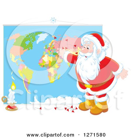 Clipart of a Christmas Santa Claus Inserting Pins into a World Map - Royalty Free Vector Illustration by Alex Bannykh