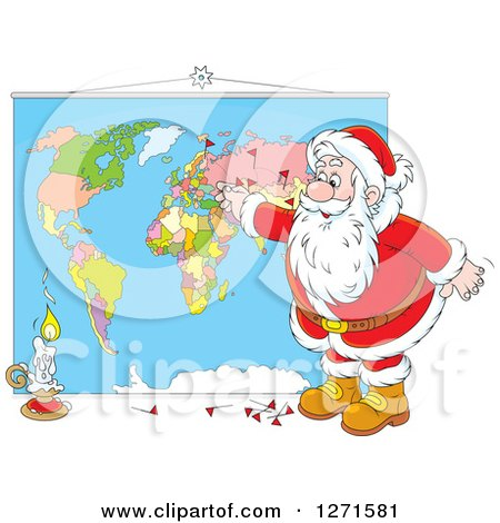 Clipart of a Christmas Santa Inserting Pins into a World Map - Royalty Free Vector Illustration by Alex Bannykh