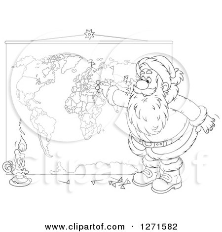 Clipart of a Black and White Christmas Santa Inserting Pins into a World Map - Royalty Free Vector Illustration by Alex Bannykh