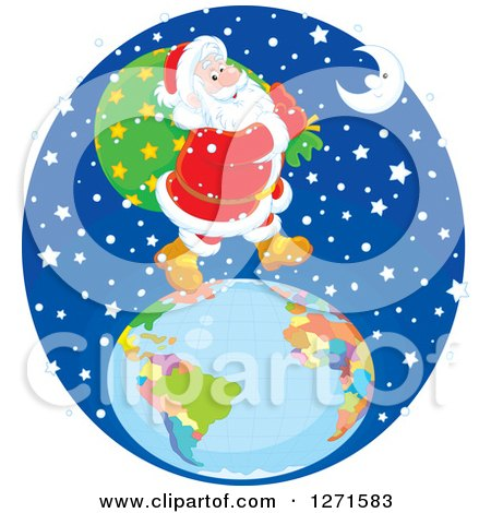 Clipart of Santa Claus Walking on Top of a Globe in the Snow on Christmas Eve Night - Royalty Free Vector Illustration by Alex Bannykh