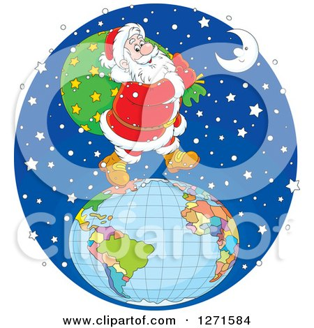 Clipart of Santa Walking on Top of a Globe in the Snow on Christmas Eve Night - Royalty Free Vector Illustration by Alex Bannykh