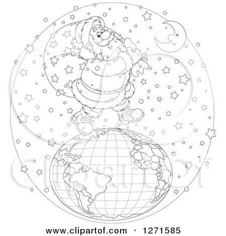 Clipart of a Black and White Santa Walking on Top of a Globe in the Snow on Christmas Eve Night - Royalty Free Vector Illustration by Alex Bannykh