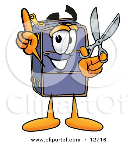 Clipart Picture of a Suitcase Cartoon Character Holding a Pair of Scissors by Toons4Biz