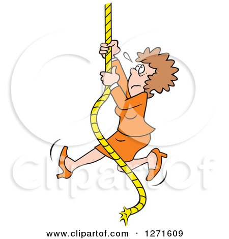 Clipart of an Uncertain Fearful Caucasian Man Climbing an Upward Mobility Rope - Royalty Free Vector Illustration by Johnny Sajem