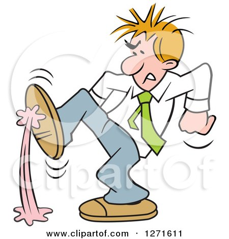 Clipart of a Frustrated Blond White Businessman Stepping in Gum - Royalty Free Vector Illustration by Johnny Sajem