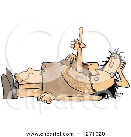 Clipart of a Cave Woman by a Man Laying on His Back and Poinging Upwards - Royalty Free Vector Illustration by djart