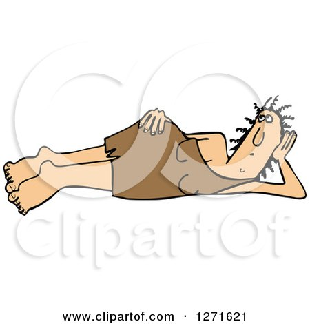 Clipart of a Cavewoman Laying on Her Side - Royalty Free Vector Illustration by djart