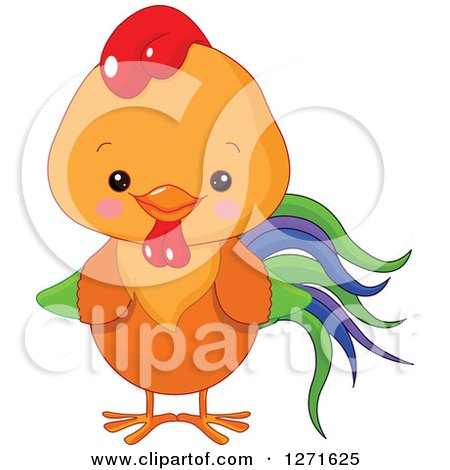 Clipart of a Cute Happy Rooster with a Blue, Purple and Green Tail - Royalty Free Vector Illustration by Pushkin