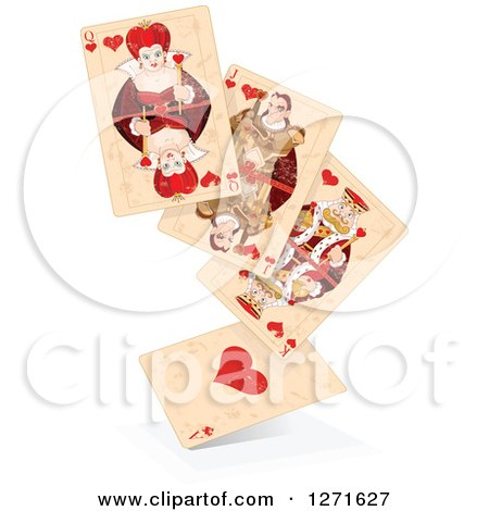 Clipart of a Floating Stack of Distressed Playing Cards - Royalty Free Vector Illustration by Pushkin