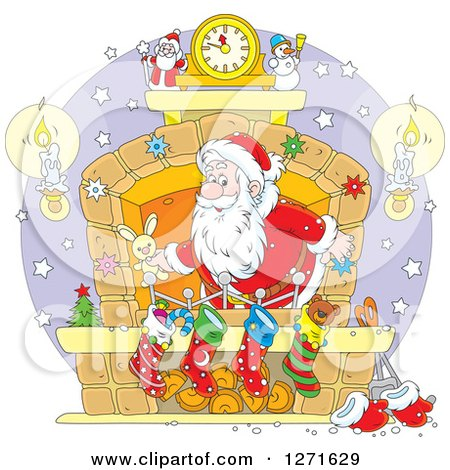 Clipart of Santa Stuffing Stockings at a Hearth on Christmas Eve - Royalty Free Vector Illustration by Alex Bannykh