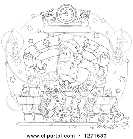 Clipart of a Black and White Santa Claus Stuffing Stockings at a Hearth on Christmas Eve - Royalty Free Vector Illustration by Alex Bannykh