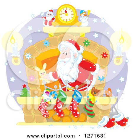Clipart of Santa Claus Stuffing Stockings at a Hearth on Christmas Eve - Royalty Free Vector Illustration by Alex Bannykh