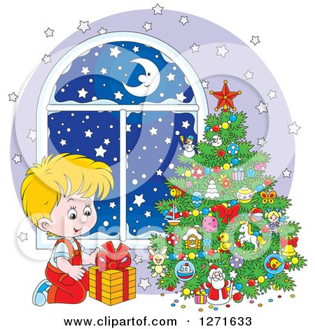 Clipart of a Blond Caucasian Boy Gazing at a Gift on Snowy Christmas Night - Royalty Free Vector Illustration by Alex Bannykh